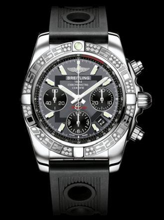 百年灵机械计时41腕表系列AB0140AA/F554黑海洋竞赛胶带