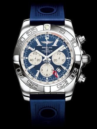 百年灵机械计时GMT腕表系列AB041012/C834蓝海洋竞赛胶带