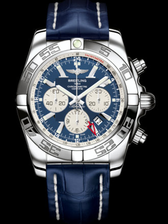 百年灵机械计时GMT腕表系列AB041012/C834蓝鳄鱼皮带