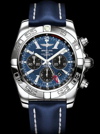 百年灵机械计时GMT腕表系列AB041012/C835蓝皮带
