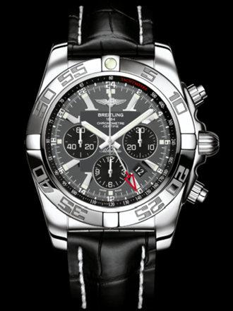 百年灵机械计时GMT腕表系列AB041012/F556黑鳄鱼皮带