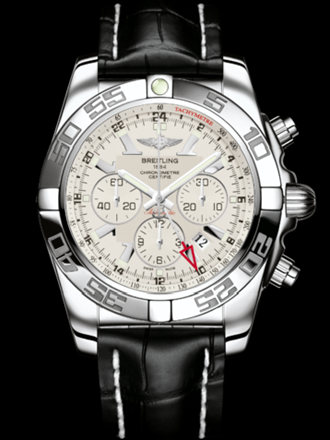 百年灵机械计时GMT腕表系列AB041012/G719黑鳄鱼皮带