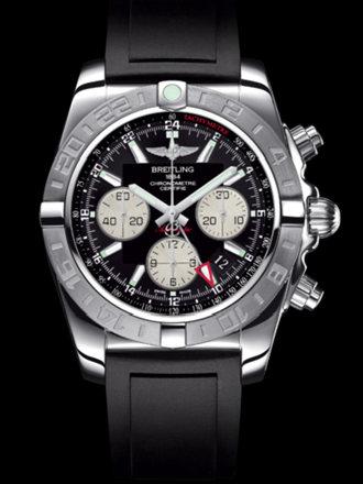 百年灵机械计时GMT终极计时腕表系列AB042011/BB56黑深潜胶带