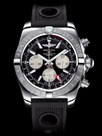 百年灵机械计时GMT终极计时腕表系列AB042011/BB56黑海洋竞赛胶带