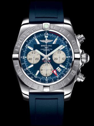百年灵机械计时GMT终极计时腕表系列AB042011/C851蓝深潜胶带