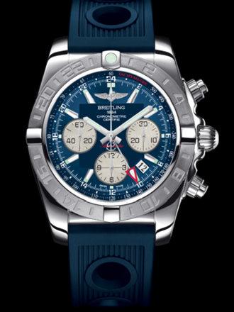 百年灵机械计时GMT终极计时腕表系列AB042011/C851蓝海洋竞赛胶带