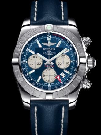百年灵机械计时GMT终极计时腕表系列AB042011/C851蓝皮带