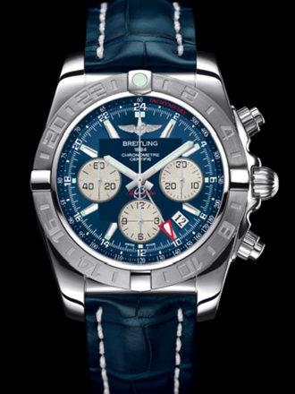 百年灵机械计时GMT终极计时腕表系列AB042011/C851蓝鳄鱼皮带
