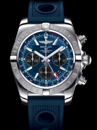 百年灵机械计时GMT终极计时腕表系列AB042011/C852蓝海洋竞赛胶带