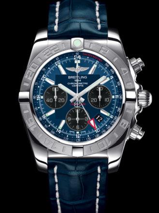百年灵机械计时GMT终极计时腕表系列AB042011/C852蓝鳄鱼皮带