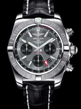 百年灵机械计时GMT终极计时腕表系列AB042011/F561黑鳄鱼皮带