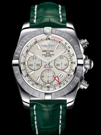 百年灵机械计时GMT终极计时腕表系列AB042011/G745绿鳄鱼皮带