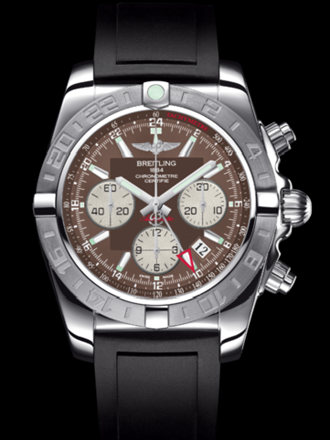 百年灵机械计时GMT终极计时腕表系列AB042011/Q589黑深潜胶带
