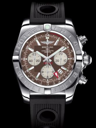 百年灵机械计时GMT终极计时腕表系列AB042011/Q589黑海洋竞赛胶带