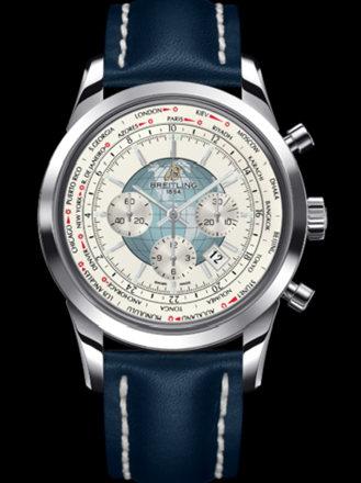 百年灵越洋GMT计时腕表系列AB0510U0/A732蓝皮带