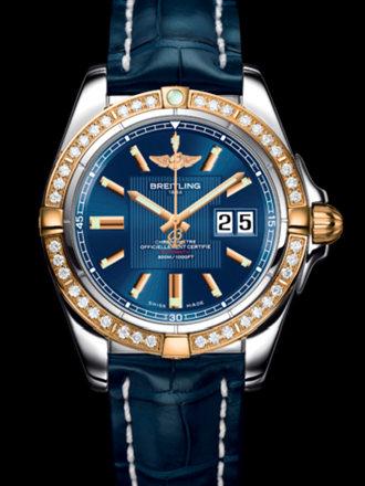 百年灵银河41腕表系列C49350LA/C810蓝鳄鱼皮带