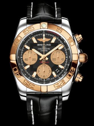 百年灵机械计时41腕表系列CB014012/BA53黑鳄鱼皮带