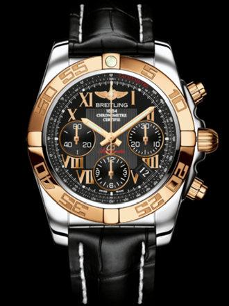 百年灵机械计时41腕表系列CB014012/BC08黑鳄鱼皮带