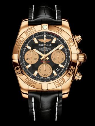 百年灵机械计时41腕表系列HB014012/BA53黑鳄鱼皮带