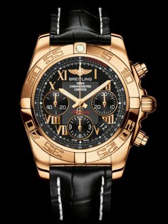 百年灵机械计时41腕表系列HB014012/BC08黑鳄鱼皮带