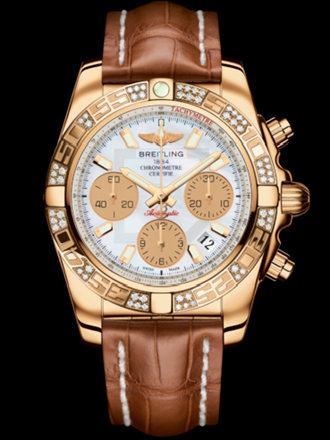 百年灵机械计时41腕表系列HB0140AA/A722金鳄鱼皮带