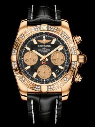 百年灵机械计时41腕表系列HB0140AA/BA53黑鳄鱼皮带