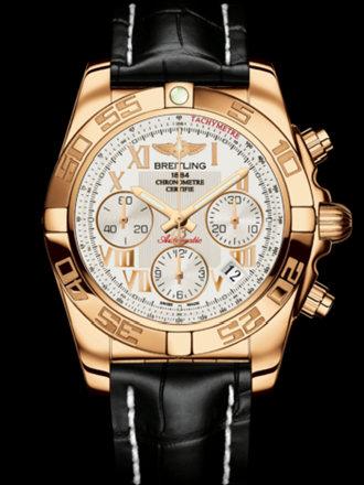 百年灵机械计时41腕表系列HB0140AA/G759黑鳄鱼皮带