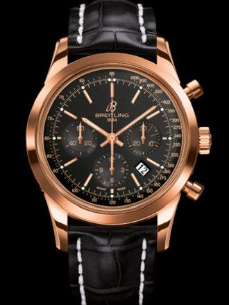 百年灵越洋计时腕表系列RB015212/BB16黑鳄鱼皮带