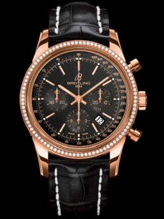 百年灵越洋计时腕表系列RB015253/BB16黑鳄鱼皮带
