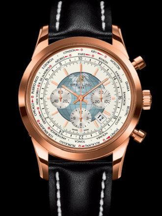 百年灵越洋GMT计时腕表系列RB0510U0/A733黑皮带