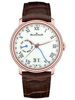 宝珀Villeret系列6637-3631-55B周数显示双历腕表