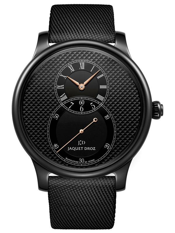 雅克德罗大秒针运动系列J003035540陶瓷巴黎格纹大秒针腕表