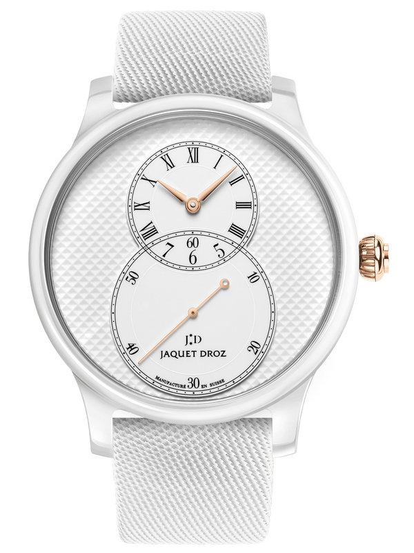 雅克德罗大秒针运动系列J003036540陶瓷巴黎格纹大秒针腕表