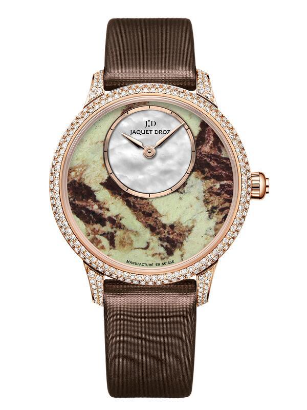 雅克德罗Elegance Paris系列柠檬绿玉髓35毫米时分小针盘J005003574腕表