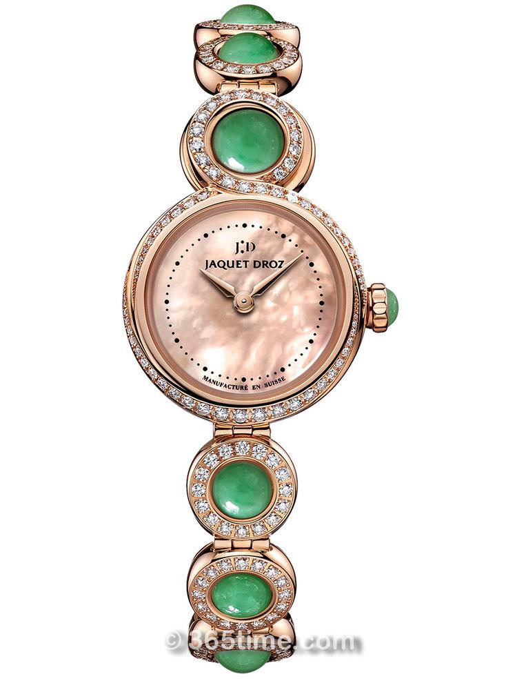 雅克德罗Elegance Paris系列优雅8 Petite翡翠珠腕表 J014603171
