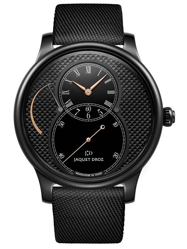 雅克德罗大秒针运动系列J027035541陶瓷巴黎格纹动力储存大秒针腕表