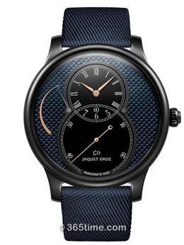 雅克德罗大秒针运动系列黑色陶瓷巴黎格纹动力储存大秒针腕表 J027035542