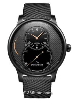 雅克德罗大秒针运动系列黑色陶瓷巴黎格纹动力储存大秒针腕表 J027035543