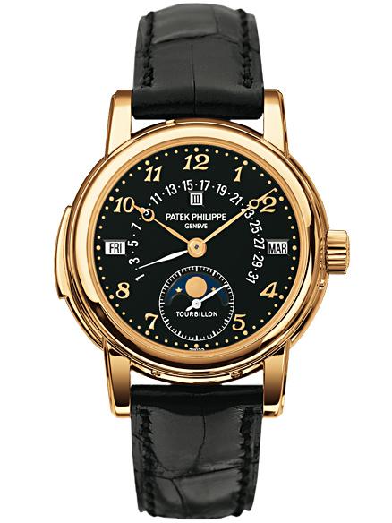 百达翡丽超级复杂功能计时系列黄金陀飞轮三问万年历手表5016J-012