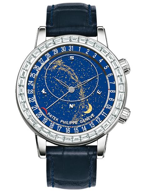 百达翡丽超级复杂功能计时系列白金镶钻星空腕表6104G-001