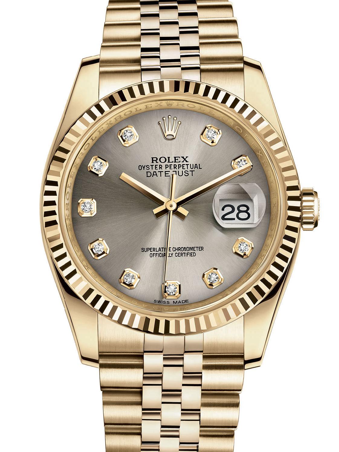 劳力士日志型36黄金牙圈银面钻标男表116238-0079