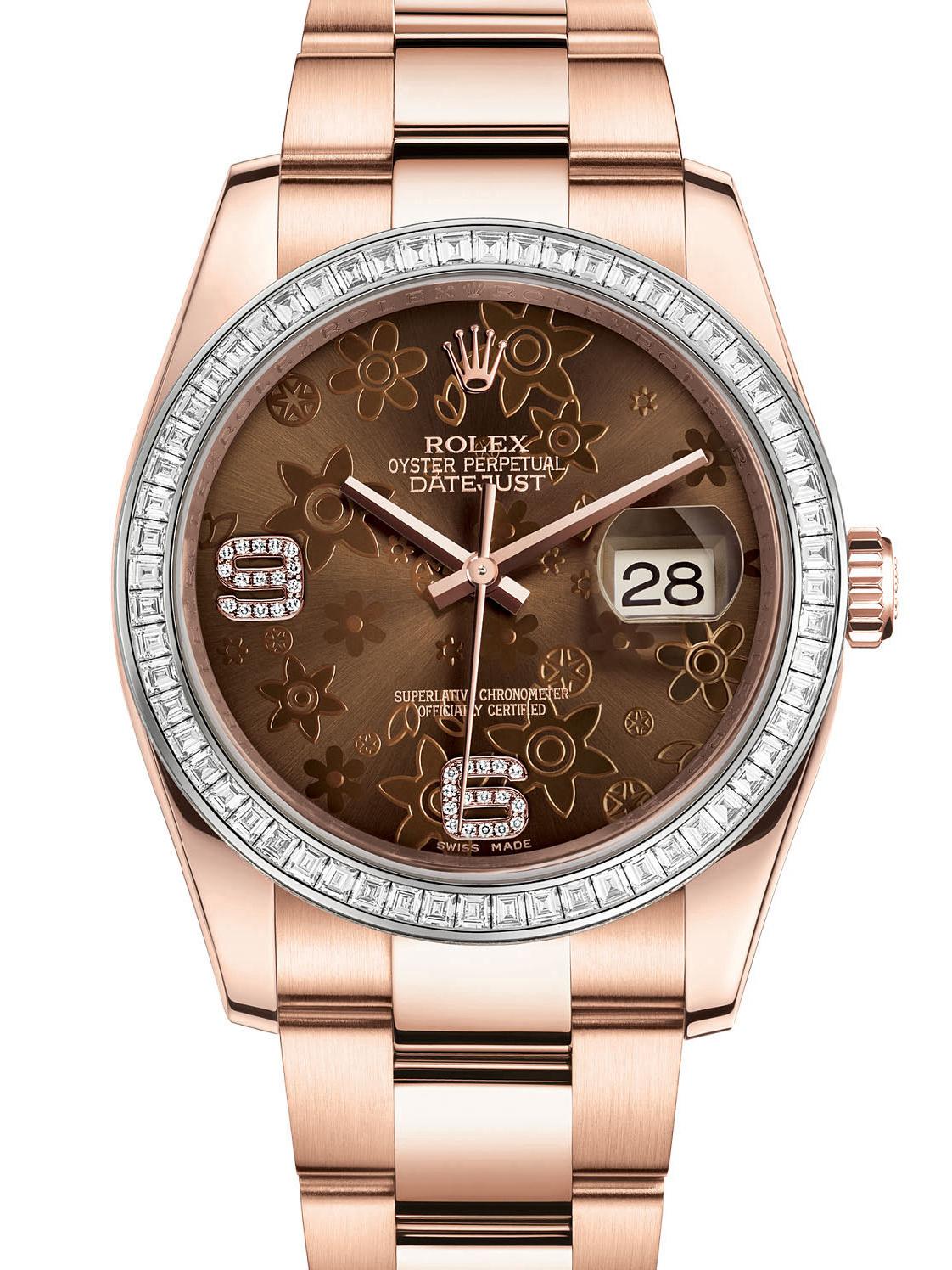 劳力士日志型36玫瑰金钻圈古铜色花纹面男表116285BBR-0012