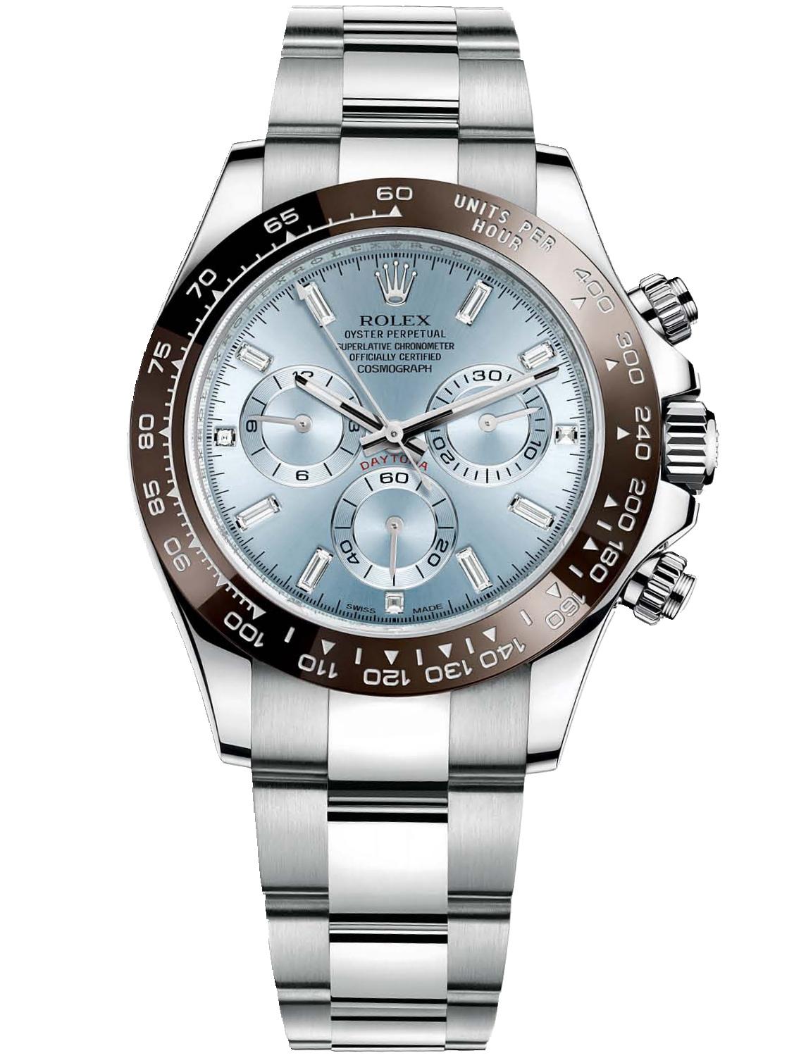 劳力士宇宙计型迪通拿40铂金陶瓷圈冰蓝面钻标男表116506-0002