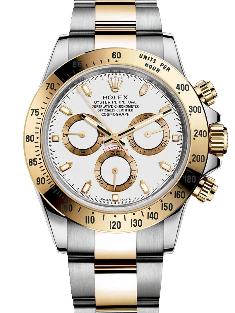 劳力士宇宙计型迪通拿40黄金钢白面白条男表116523-0040