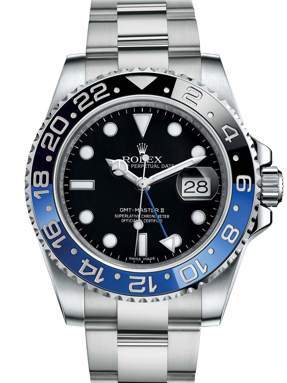 劳力士格林尼治型Ⅱ40精钢蓝黑陶瓷圈116710BLBR-0002