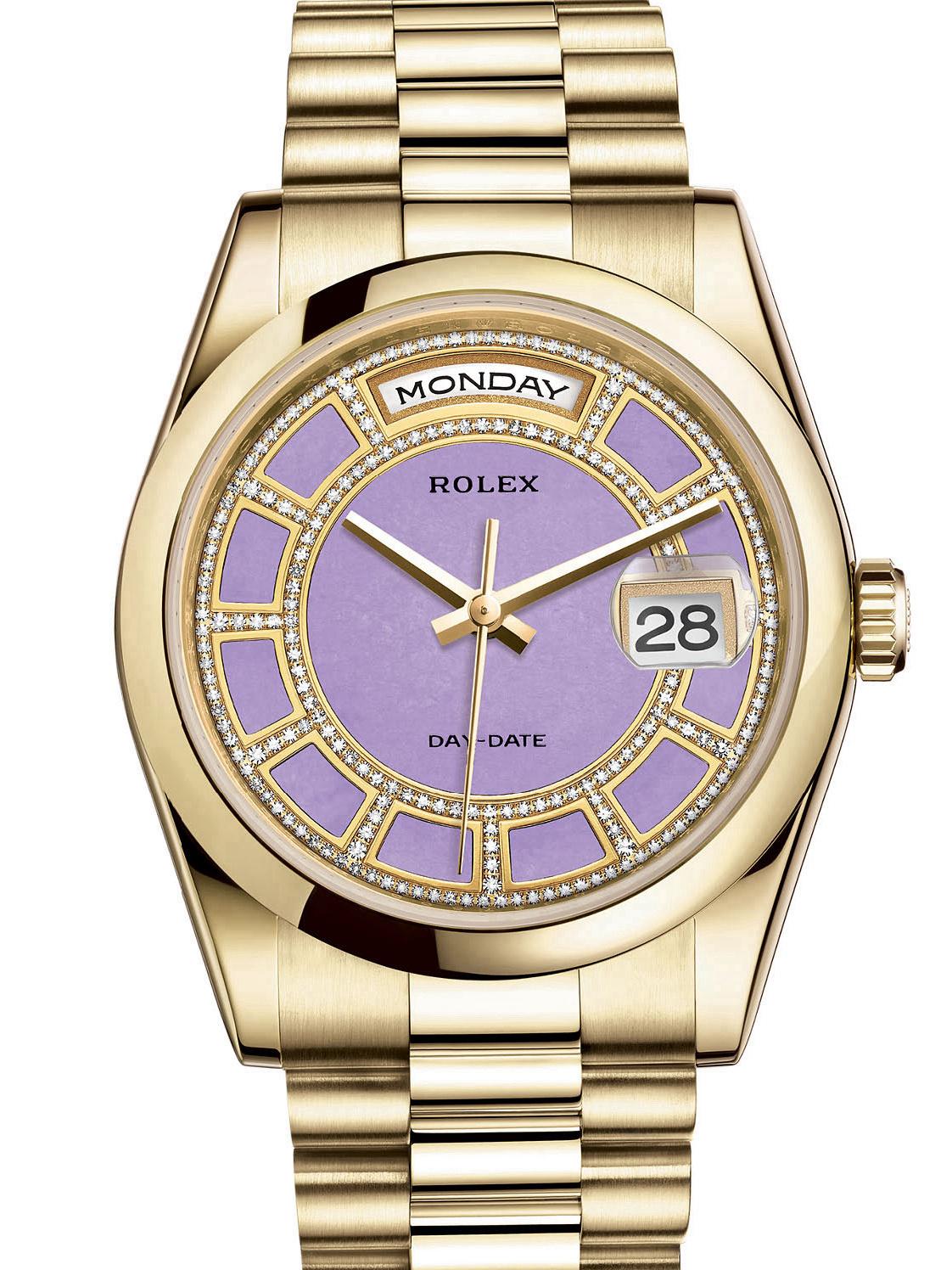 劳力士星期日历型36黄金光圈紫面男表118208-0354
