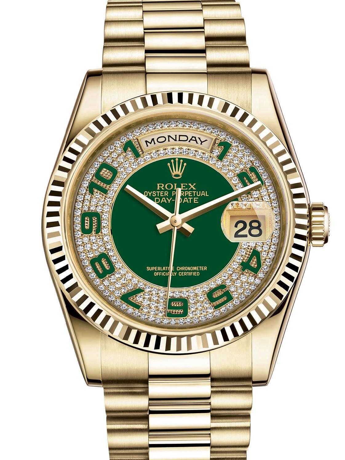 劳力士星期日历型36黄金牙圈绿面男表118238-0237