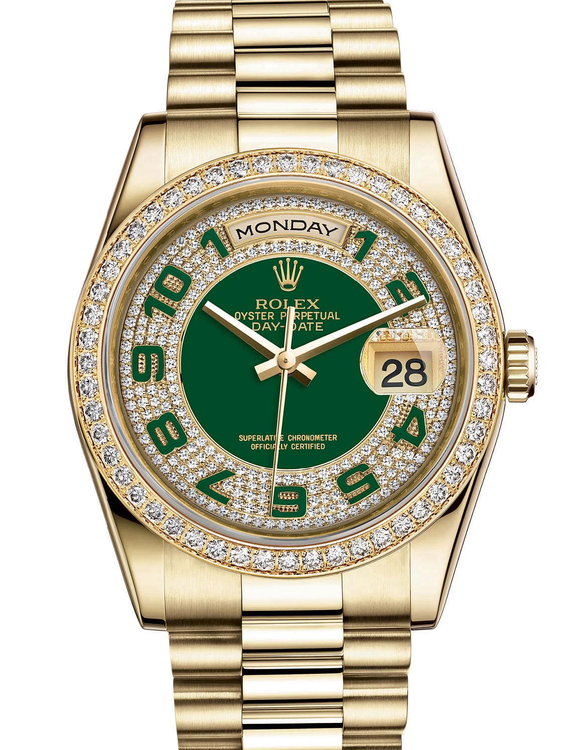劳力士星期日历型36黄金钻圈绿面镶钻男表118348-0054