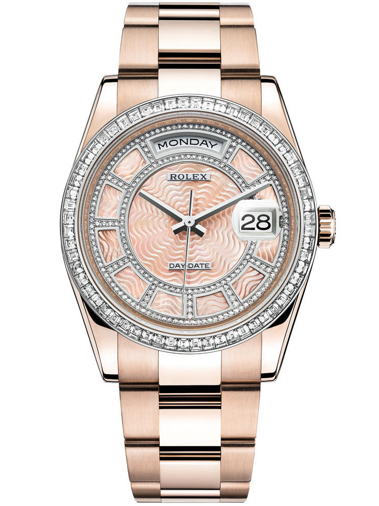 劳力士星期日历型36「Sertie」玫瑰金钻圈粉贝母面镶钻男表118395BR