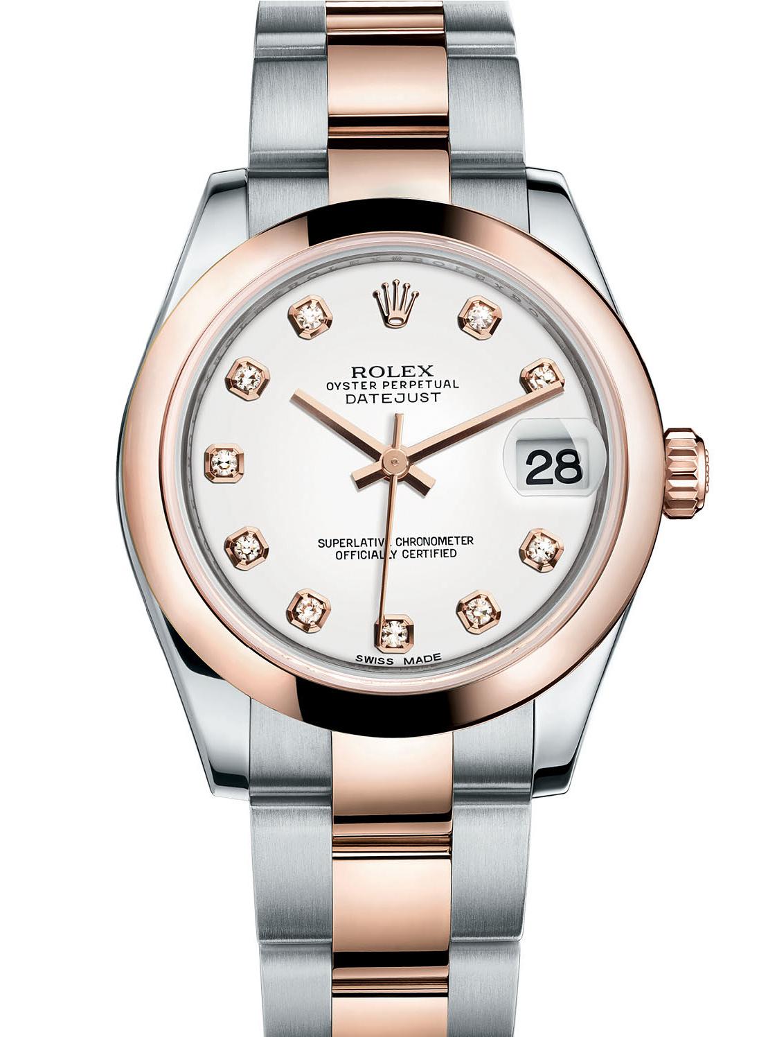劳力士女装日志型31玫瑰金钢白面钻标女表178241-0010